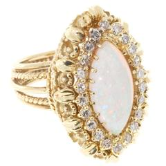 Marquise Opal Round Diamond Gold Wire Ring