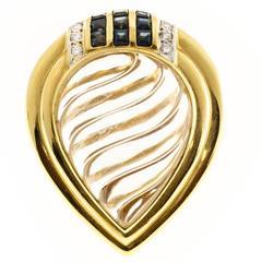 Tear Drop Swirl Shape Quartz Crystal Sapphire Diamond Gold Cocktail Ring