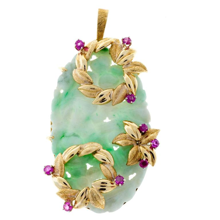 Jadeite Jade  Ruby Hand Carved Floral Gold Pendant