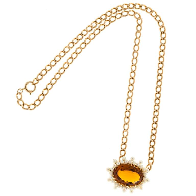 Citrine Pearl Gold Pendant Necklace