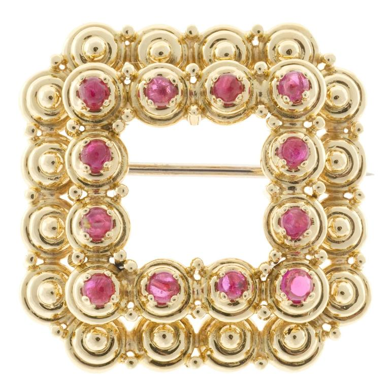 Tiffany & Co. Cabochon Red Ruby Gold Square Pin