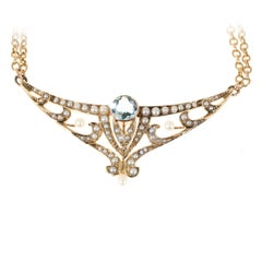 Aquamarine Pearl Gold double chain Pendant Necklace