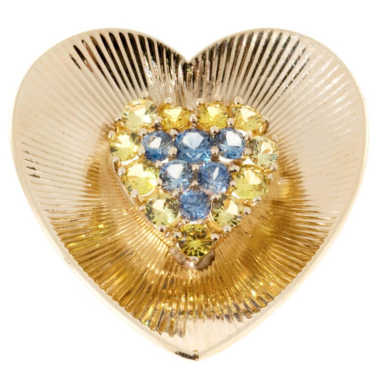Tiffany & Co. Yellow Blue Sapphire Gold Heart Pin  For Sale