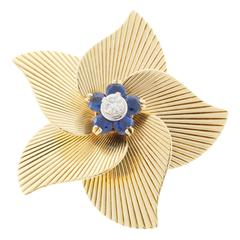 Tiffany & Co. Round Sapphire Diamond Gold Flower Pin