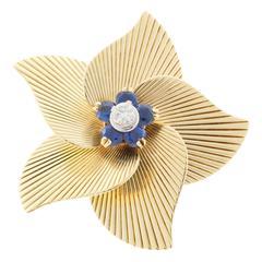 Tiffany & Co. Round Sapphire Diamond Gold Flower Pin