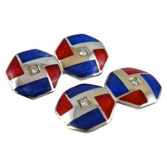Jona Octagonal Enamel White Diamond 18 Karat White Gold Cufflinks