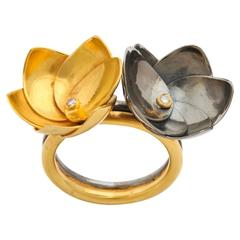 Diamond Silver Gold Double Lotus Flower Ring