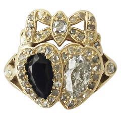 1.54 Carat Diamond and 0.65 Carat Sapphire, 18 Karat Gold Dress Ring, circa 1820