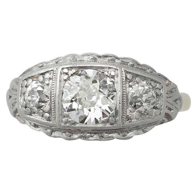 1.15Ct Diamond, 14k Yellow Gold Dress Ring - Antique Circa 1920