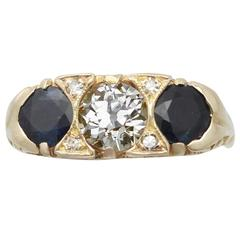 1900s 1.32 Carat Sapphire & Diamond Yellow Gold Cocktail Ring