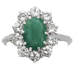 2.09 Carat Emerald & 1.32 Carat Diamond White Gold Cluster Ring