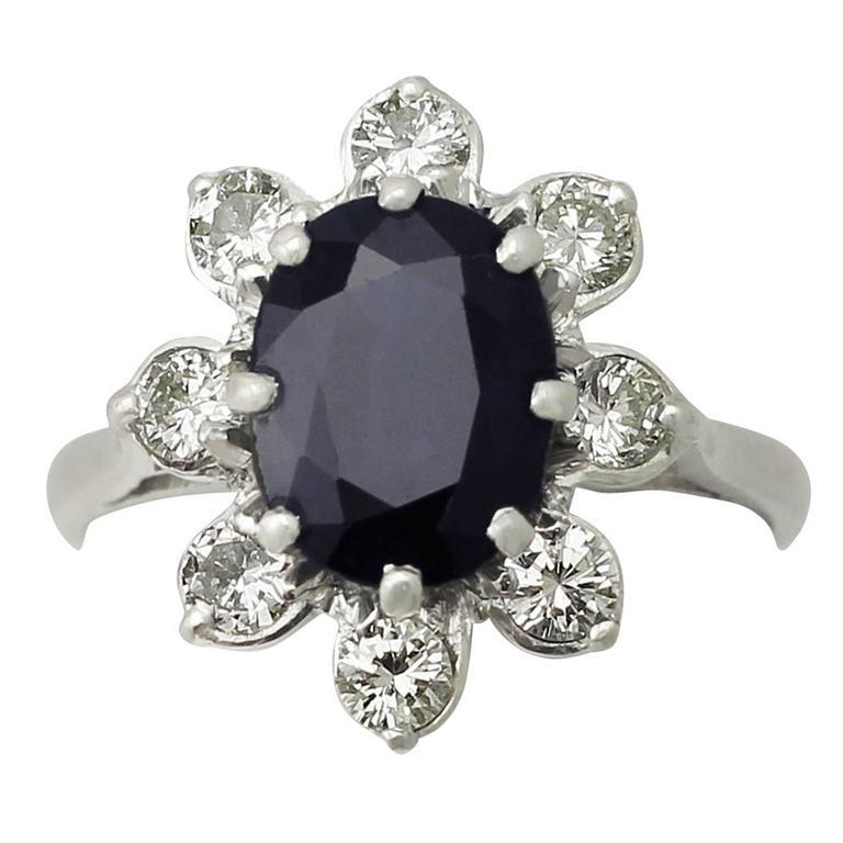 1950s 3.10 Carat Sapphire & Diamond White Gold Cocktail Ring