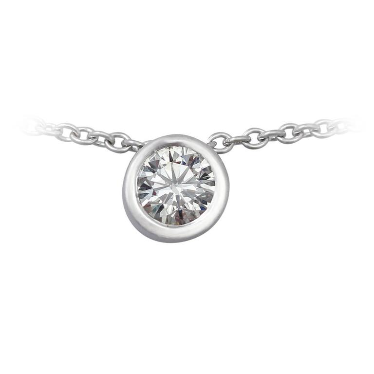 0.53 Ct Diamond and 18 k White Gold Solitaire Pendant - Contemporary 2000