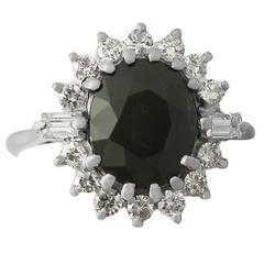 1970s 4.60 Carat Green Sapphire and Diamond White Gold Cocktail Ring