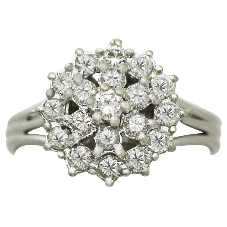 0.75Ct Diamond and 18k White Gold Cluster Ring - Vintage Circa 1960