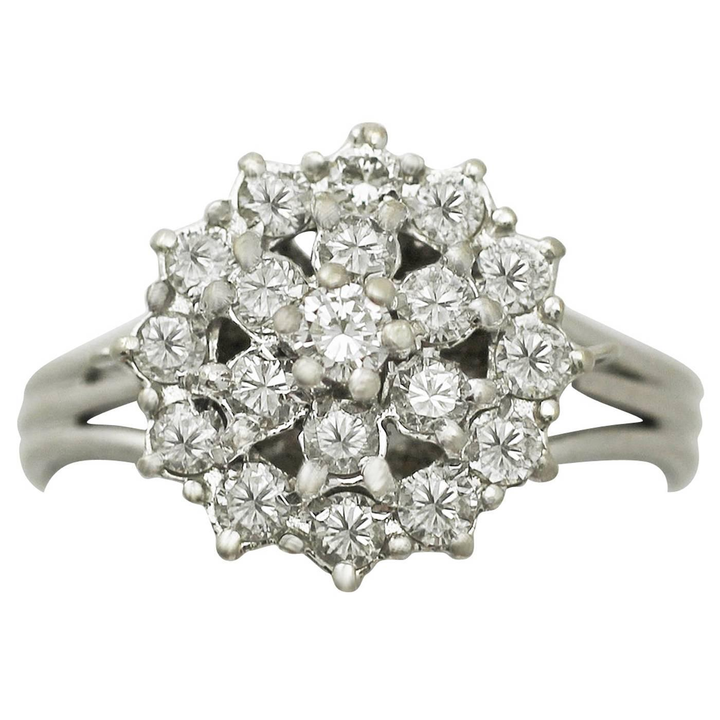075ct Diamond And 18k White Gold Cluster Ring  Vintage Circa 1960 For  Sale At 1stdibs