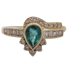 Emerald & Diamond Yellow Gold Cocktail Ring