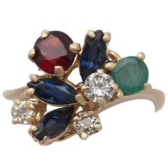 Multi-Gemstone & Diamond Yellow Gold Cocktail Ring