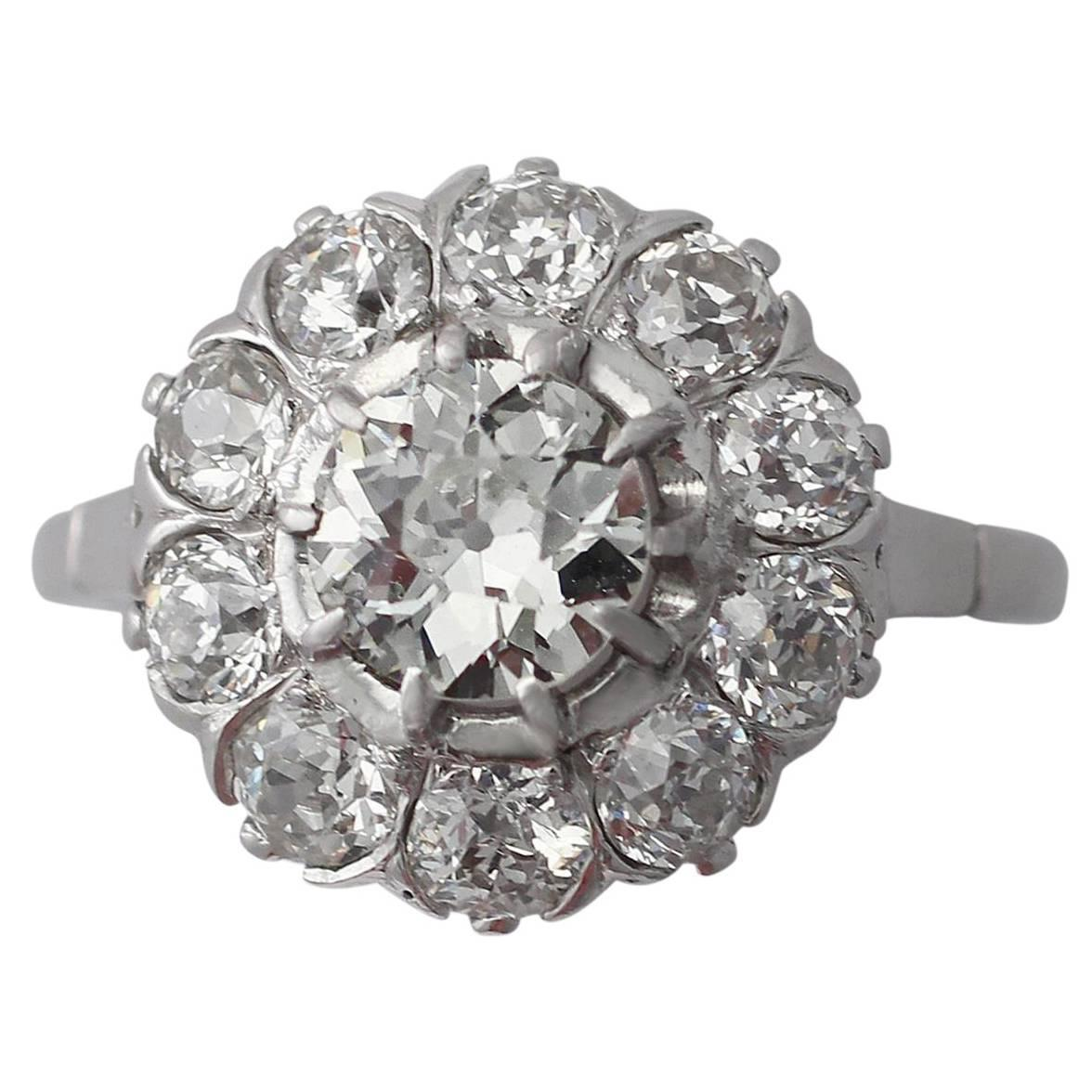 2 36ct and platinum cluster ring antique circa