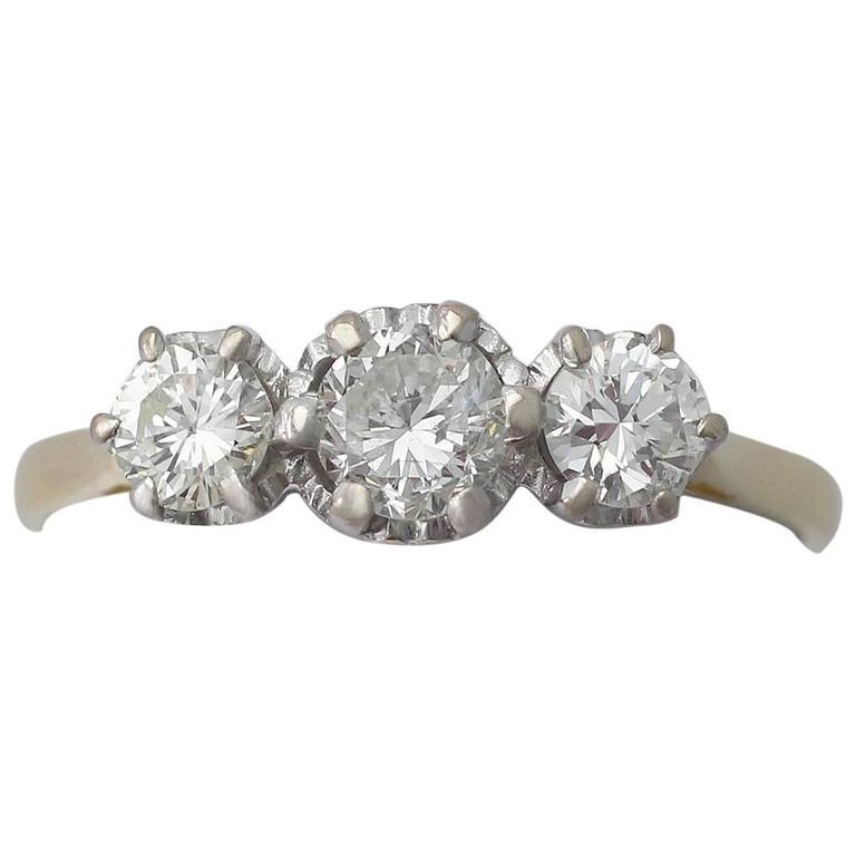 0.85Ct Diamond and 18k Yellow Gold Three Stone Ring - Vintage 1977