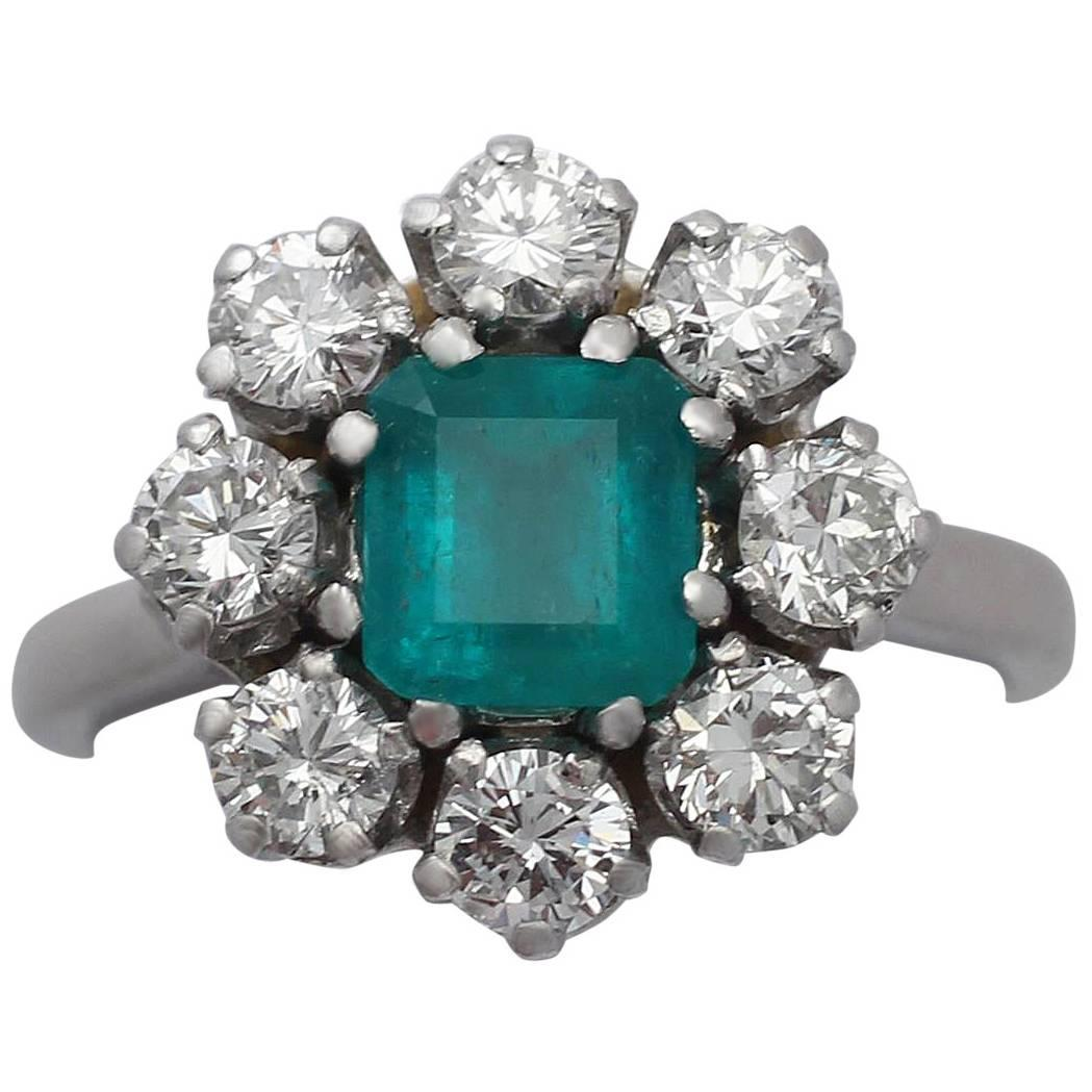 130ct Emerald And 166ct Diamond, 1k White Gold Cluster Ring  Vintage  Circa 1950 At 1stdibs