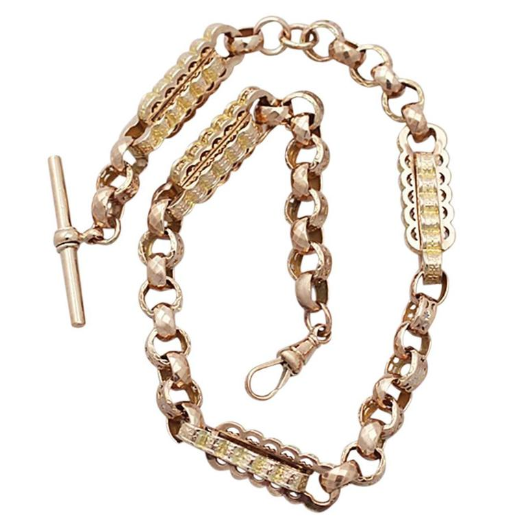 9K Yellow Gold and 9K Rose Gold Watch Chain Antique Circa 1900 For