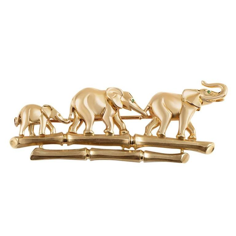 Cartier Emerald Gold Elephant Family Brooch
