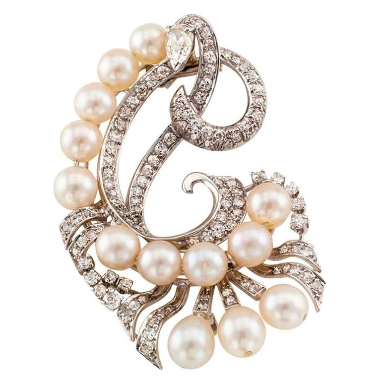 1950s Pearl Diamond Platinum Clip Brooch For Sale