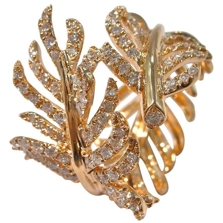 Jona Diamond Gold Wrap Around Feather Band Ring 1