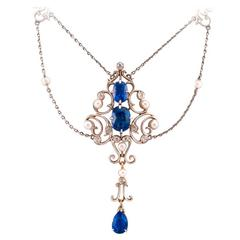 Edwardian Pearl Sapphire Diamond Gold Platinum Drop Necklace