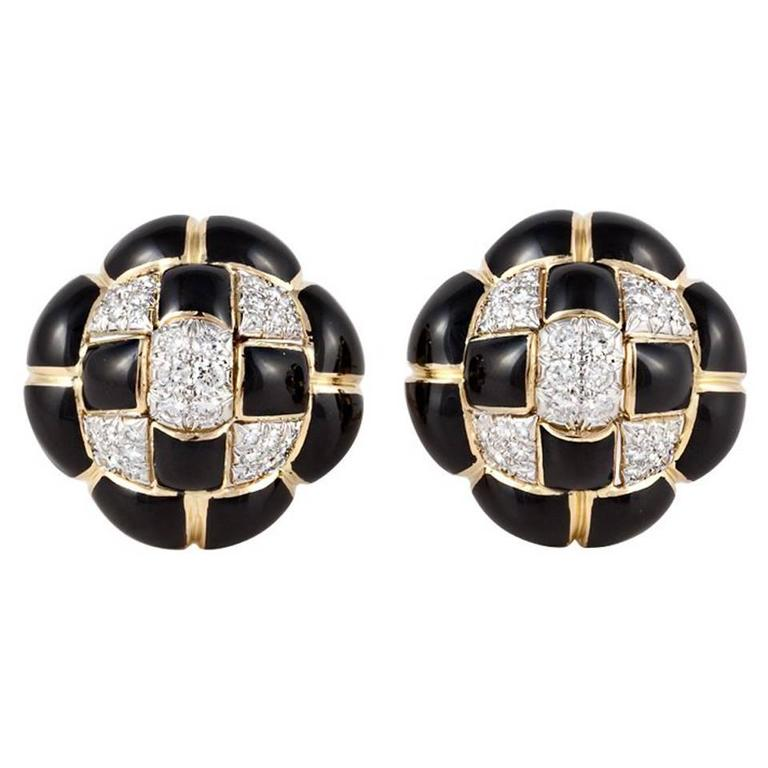 DAVID WEBB Black Enamel, Diamond, & Gold Earrings