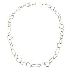Jona Free-Form 18 Karat Rose Gold Link Necklace with White Diamond Link