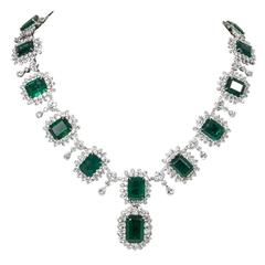 Iconic Emerald Diamond Platinum Drop Necklace