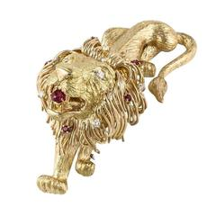 Ruby Diamond Gold Large Lion Pin