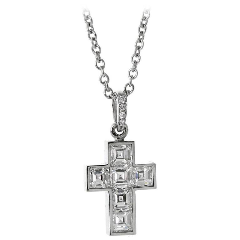 Cartier diamond platinum cross necklace at 1stdibs cartier diamond platinum cross necklace for sale aloadofball Images