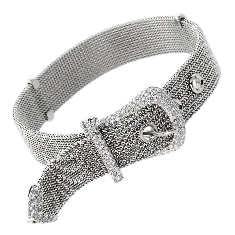 A fabulous Tiffany & Co bracelet adorned with 3cts of the finest Vs quality Tiffany & Co round brilliant cut diamonds set in platinum.