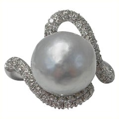 Jona Baroque South Sea Pearl White Diamond 18K White Gold Ring