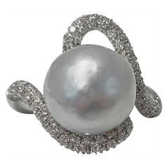 Jona Baroque South Sea Pearl White Diamond 18K White Gold Ring