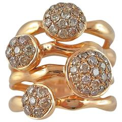Jona Organic Shape Brown Diamond Rose Gold Ring