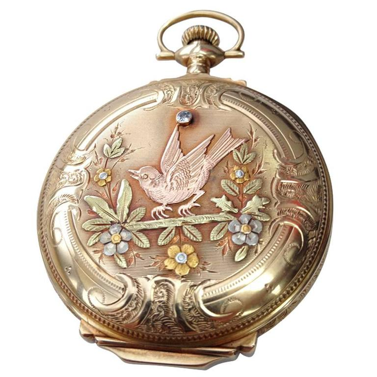 Elgin Multicolor Gold Diamond Hunter Case Pocket Watch For Sale