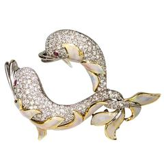 Diamond Enamel Gold Dolphin Statement Pin Brooch