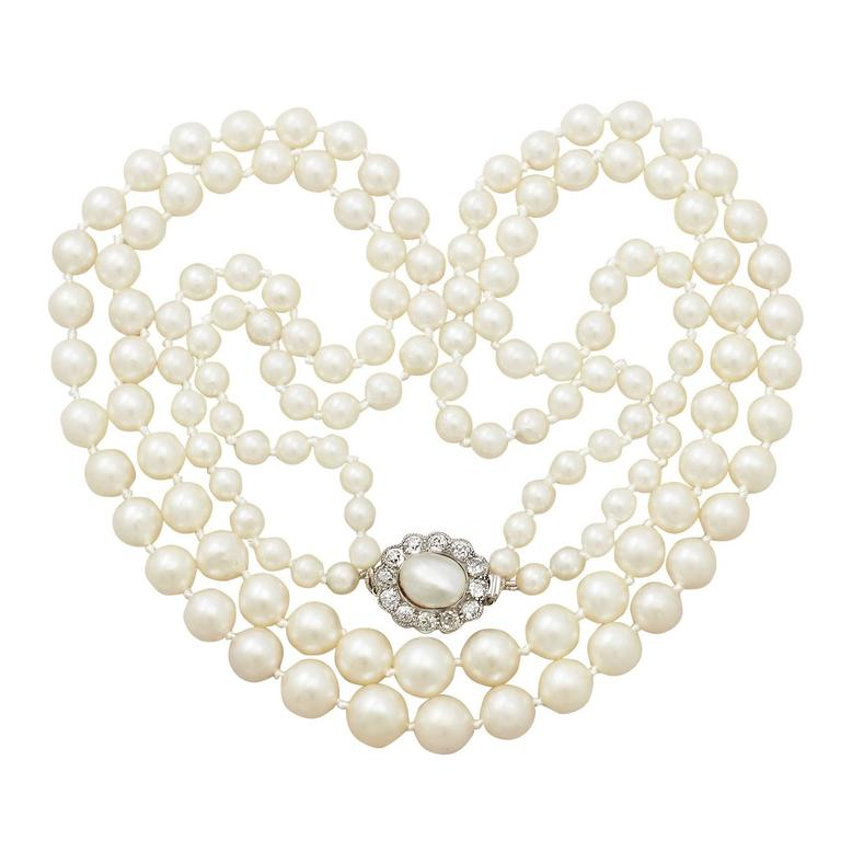 Double Strand Pearl & 0.84Ct Diamond, 14k Yellow Gold Necklace Antique & Vintage