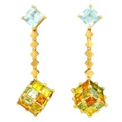 H. Stern Postmodern Cubist Tourmaline and Gold Earrings