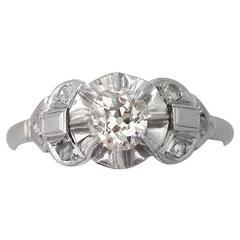 0.72Ct Diamond and Platinum Solitaire Ring - Antique Circa 1910