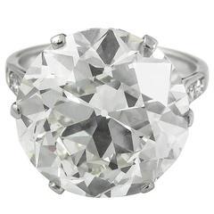 1930s GIA Certified 10.34 Carat Old European Round Cut Diamond Platinum Ring