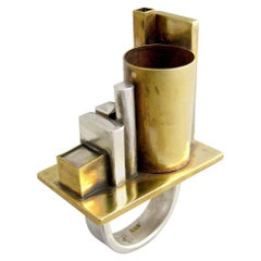 Heidi Abrahamson Sterling Silver Brass Industrialist Ring