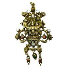 19th Century Austro-Hungarian Gemstone Silver Brooch