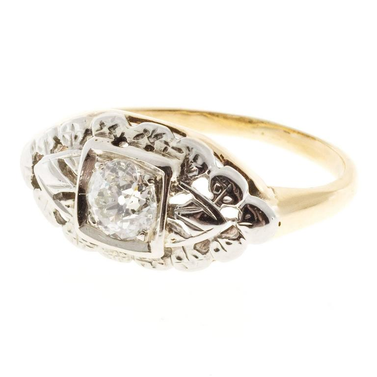 Art Deco European Cut Diamond Open Work Gold Engagement Ring