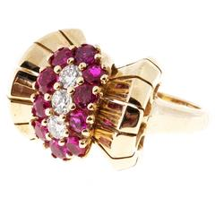 Ruby Diamond Yellow Gold Cocktail Ring