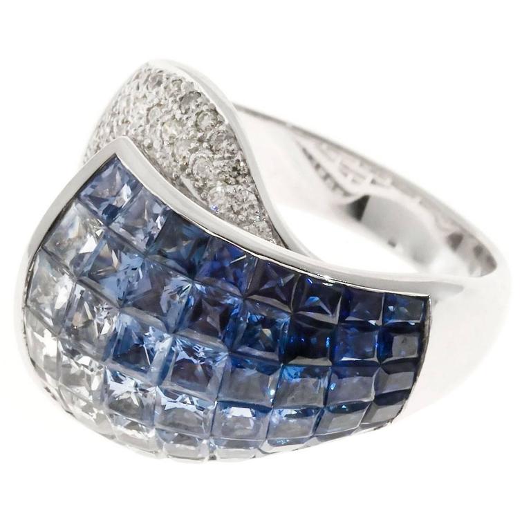 Blue White Invisible Sapphire Diamond Gold Ring